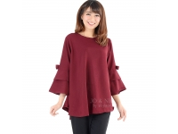 Kimberly Tunik Top (Blouse Jumbo) - MAROON2