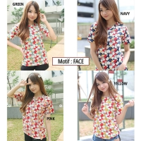 Kaos Cewek Printed Cutie - Girls Tee XL (motif: FACE CAT)