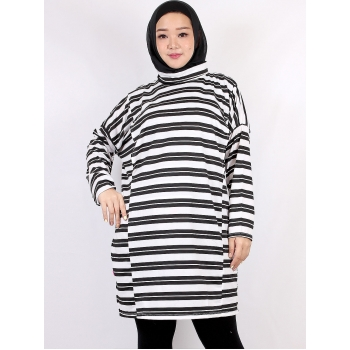 ALDIRA Dress Atasan Tunik Wanita Turtleneck Busui Big Size/Jumbo fit up to XXL - WHITE