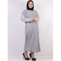 ABINAYA Gamis Wanita Jumbo Kombinasi Busui Friendly / Big Size fit up to XXL - LIGHTGREY