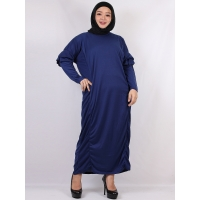 TAMARA Gamis Jumbo Polos Lengan Ruffles Busui Friendly fit up to XXL - BLUE