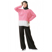 NORA Atasan Blouse Stripes Kombinasi - Sweater Wanita AllSize fit up to XL