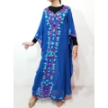 FAYE Kaftan Bordir Pita - Dress Muslim Lebaran (tanpa inner) - BLUE