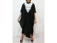 EVA Kaftan Embro Patch - Dress Muslim Lebaran (tanpa inner) - BLACK
