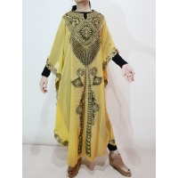 DACEY Kaftan Bordir Emas - Dress Muslim Lebaran (tanpa inner) - YELLOW