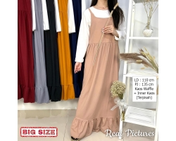 PRITA Setelan Gamis Overall Jumbo + Inner Kaos - Big Size fit up to XL (2)