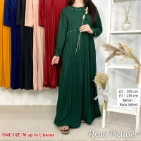 NIRINA Gamis Plisket Mutiara AllSize fit up to L besar / XL - Dress Wanita Hijab Style