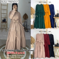 FAYE Gamis Wanita Jumbo Ruffle Busui Friendly - Dress Muslim fit up to XL