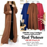 KIMORA Long Cardigan Wanita - Outer Luaran Muslim AllSize fit up to XL (2)