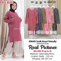 KINAN Tunik Wanita Jumbo Salur Busui Penguin Style - Atasan Muslim Big Size fit up to XL