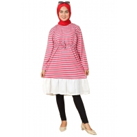 ASHLEY Tunik Wanita Salur Ruffle Busui Friendly - Atasan Muslim AllSize fit up to L besar