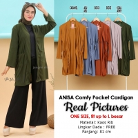 ANISA Comfy Pocket Cardigan - Kardigan Outer Wanita One Size fit up to L besar