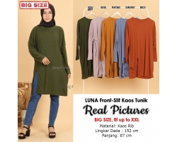 LUNA Kaos Tunik Jumbo Wanita Front-Slit - Atasan Big Size fit up to XXL