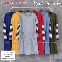 BLANCHE Tunik Dress Wanita Turtleneck Kombinasi Lengan Salur - Baju Muslim AllSize fit up to L besar