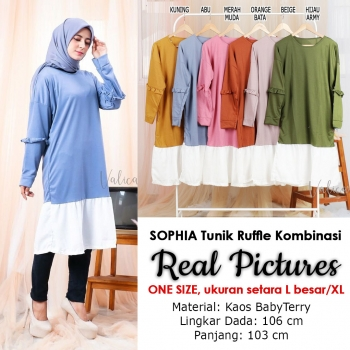 SOPHIA Tunik Dress Wanita Ruffle Kombinasi Lengan Panjang AllSize fit up to L besar
