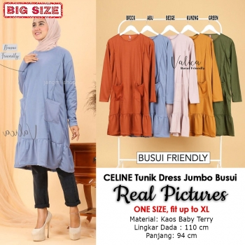 CELINE Tunik Dress Wanita Busui Friendly Jumbo - Atasan Muslim Big Size fit up to XL