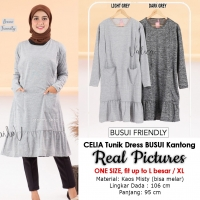 CELIA Atasan Tunik Misty Jumbo Busui 2 Kantong - Dress Wanita AllSize fit up to L besar or XL (2)