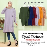 RENA Tunik Wanita Jumbo Klep Kancing - Atasan Muslim Big Size fit up to XL