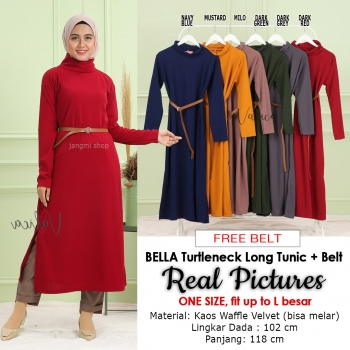 BELLA Turtleneck Long Tunik Free Belt - Dress Wanita AllSize fit up to L besar