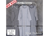 PENNY/PALUPI Stripes Gamis Wanita Turtleneck Busui Big Size - Baju Muslim Jumbo fit up to XXL
