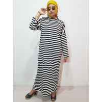 PENNY/PALUPI Stripes Gamis Wanita Turtleneck Busui Big Size - Baju Muslim Jumbo fit up to XXL (2)