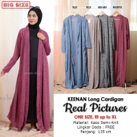 KEENAN Long Cardigan Wanita - Outer Luaran Muslim AllSize fit up to XL