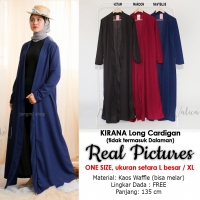 KIRANA Long Cardigan Wanita - Outer Luaran Muslim AllSize fit up to L besar / XL (2)