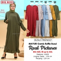MAYURI Gamis Jumbo Ruffles Busui Friendly - Dress Muslim Big Size fit up to XXL
