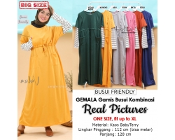 GEMALA Gamis Wanita Jumbo Busui Lengan Kombinasi - Dress Muslim Big Size fit up to XL