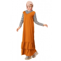 BRIGITA Setelan Gamis dan Inner Kaos Lengan Panjang - Dress Muslim One Size Fit up to XL