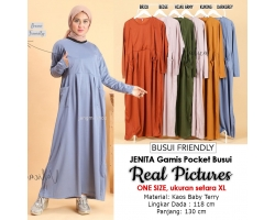 JENITA Gamis Wanita Jumbo Busui Friendly - Dress Muslim Big Size fit up to XL