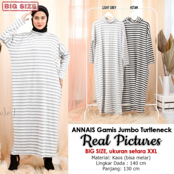 ANNAIS Gamis Jumbo Salur Turtleneck - Maxi Dress Big Size fit to XXL