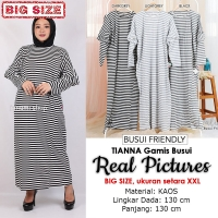 TIANNA/TARYN Gamis Jumbo Salur Lengan Ruffles Busui Friendly - Big Size fit up to XXL