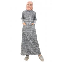 MALIKA Misty Gamis Kantong Lengan Kombinasi - Dress Muslim AllSize fit up to L besar