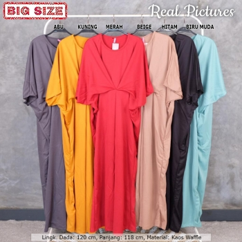 KIERA Gamis Kaftan / Dress Muslim Kalong Big Size Jumbo fit up to XXL