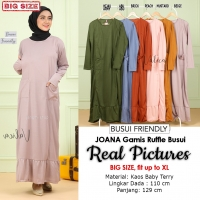 JOANA Gamis Jumbo Busui Kantong Ruffle Bawah - Dress Muslim Big Size fit up to XL (3)