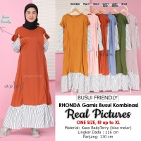 RHONDA Gamis Busui Kombinasi Ruffles - Dress Muslim Wanita AllSize fit up to XL