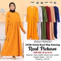LEONI Gamis Jumbo Busui Klep Kancing - Dress Muslim fit up to XL