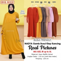 NADIA Gamis Busui Klep Kancing Jumbo fit to XL - Dress Muslim Big Size