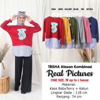 TRISHA Koala Blouse Kombinasi - Sweater Wanita AllSize fit up to L besar