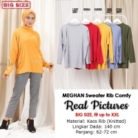 MEGHAN Sweater Jumbo Rib Comfy - Kaos Wanita Turtleneck Big Size fit up to XXL