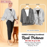 HAMISH Blouse Wanita Batwing Kombinasi Big Size - Jumbo fit up to XXL (3)