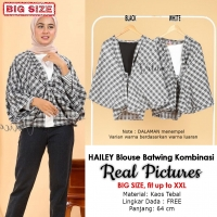 HAILEY Blouse Wanita Batwing Kombinasi Big Size - Jumbo fit up to XXL (4)