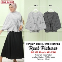 FRANDA Blouse Jumbo Wanita Batwing Monochrome - Atasan Big Size fit up to XXXL