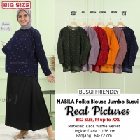 NABILA Polka Blouse Jumbo Wanita Busui Friendly - Atasan Big Size Fit up to XXL
