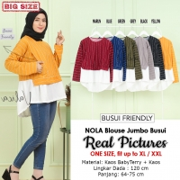 NOLA Blouse Wanita Kombinasi Jumbo Busui Friendly - Atasan fit up to XL/XXL