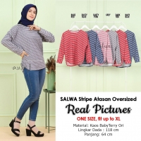 SALWA Stripe Atasan Wanita Oversized - Sweater Cewek AllSize fit up to XL