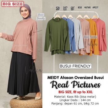 MEIDY Atasan Oversized Turtleneck Busui Friendly - Blouse Jumbo Big Size Fit up to XXL