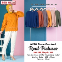 MEIDY Blouse Oversized Lengan Puffy - Atasan Wanita Jumbo Big Size Fit up to XXL