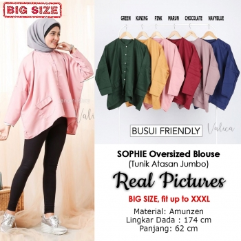 SOPHIE Oversized Blouse Jumbo - Atasan Tunik Wanita Big Size fit up to XXL